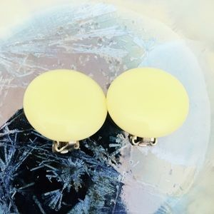 Yellow Plastic Clip On Earrings